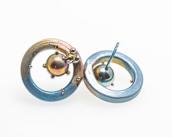 Titanium Circle Studs. Hypoallergenic. Bio compatible. Anodizing and Welding. Unique piece. Handcrafted in Finland