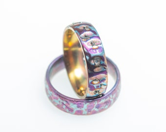 Color moods. Implant Grade Titanium Ring. Unique piece. Hypoallergenic. Art Welding. Anodizing. Handcrafted in Finland.