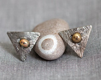 Triangles and Spheres Titanium Stud Earrings. Geometric Stud Non Allergenic Textured Earrings, Made in Finland