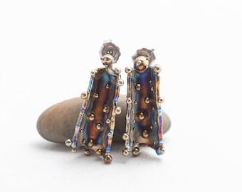 Amaterasu Birth. Hypoallergenic Titanium Stud Earrings Contemporary Titanium Jewelry Art Welding Made in Finland