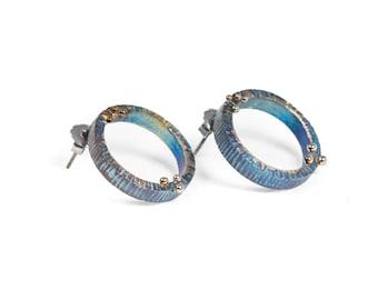 Circular metamorphosis Titanium Stud earrings Circle Earrings Solid Titanium Earrings Textured earrings Made in Finland