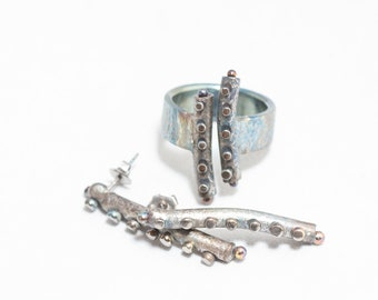 Tentacles. Titanium Jewelry Set. Titanium Ring and Stud Earrings. Colored Titanium. Hypoallergenic. Made in Finland