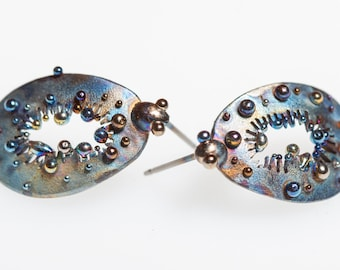 Frozen Magic Fruit Titanium Earrings Floral Stud Hypoallergenic Pure Titanium Hand Made Earrings Made In Finland