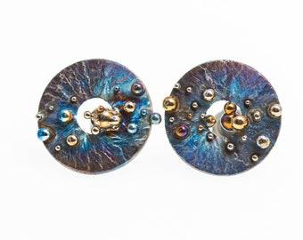 Milky Way Titanium Stud Earrings Hypoallergenic Circle Stud Geometric Posts Unusual Jewelry Alien's Design Made in Finland