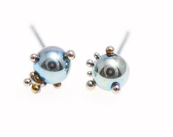 Aqua Blue Creatures. Titanium Ball Studs Earrings. Titanium Posts. 5 mm. Unique piece Hypoallergenic. Bio compatible. Made In Finland