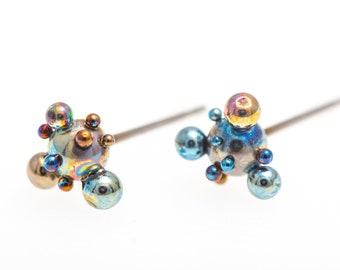 Titanium Ball Studs, Magic Tubers, 6-7 mm Ball Titanium Earrings. Hypoallergenic, Implant Grade Titanium, Made in Finland