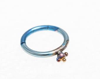 Titanium Segment ring, Septum Clicker Ring, 14G, 1.6x10 mm. Ear Cartilage, Tragus ring, Lip Piercing, Nipple, Made In Finland