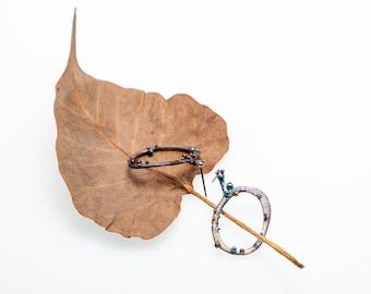 Ellipse. Hypoallergenic Titanium studs. Pure Titanium Circle Earrings. Anodizing and Welding. Unique piece. Handcrafted in Finland