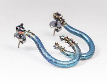 Affection. Titanium Post Earrings. Pure Titanium. Non Allergenic. Unusual Design. Made in Finland