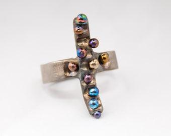 Crossring. Titanium welded ring Titanium ring Textured Ring Pure Titanium Unusual Jewelry Hypoallergenic Minimalistic Made in Finland