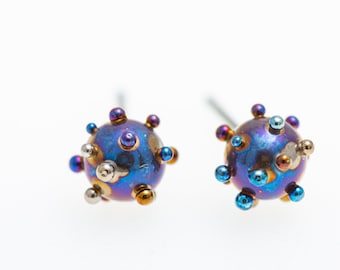Planets and Satellites Titanium Ball Stud Earrings 5 mm. Studs Ball Titanium Post Earrings Hypoallergenic Biocompatible Made In Finland