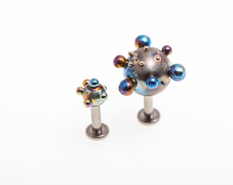16G Titanium Labret Barbell 5,6,7,8 mm. With 2,5,3,4,5 mm. Ball Labret Bar Screw Thread Head Post Shaft Barbells Made in Finland