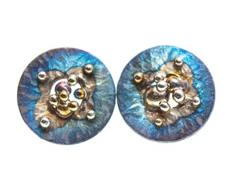 Blue and Gold. Titanium Stud Earrings. Hypoallergenic. Circle Earrings. Unusual Jewelry. Alien's Design. Made in Finland