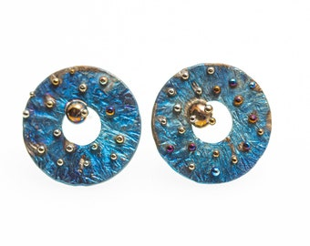 Blue and Gold Variation. Titanium Stud Earrings. Hypoallergenic. Circle Earrings. Unusual Jewelry. Alien's Design. Made in Finland