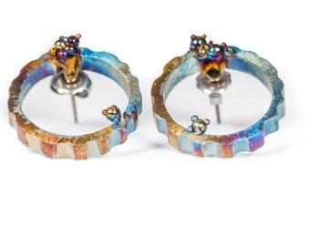 Circular Metamorphosis. Titanium Welded Circle Earrings Titanium Stud Earrings Geometric Stud Textured Earrings Hypoallergenic Finland