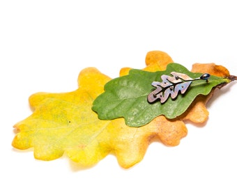 Oak Leaf With Dew Drops Titanium Stud Earrings Welding and Colored Pure Titanium Hypoallergenic  Nickel Free Earrings Made in Finland