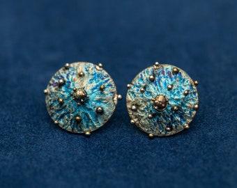 Blue Velvet. Titanium earrings. Welding. 2019