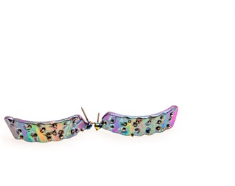 La Primavera. Titanium Earrings. Hypoallergenic. Contemporary Titanium Jewelry. Art Welding.Hand crafted in Finland by Tiqualia.