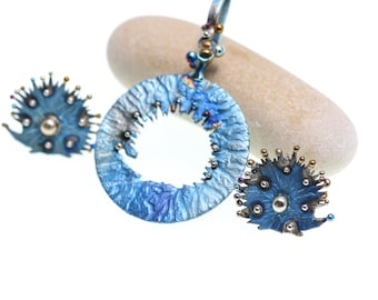 Hedgehogs Titanium Pendant, Pure Titanium, Art Welding, Made in Finland
