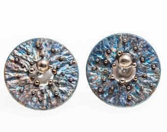 Via Lactea. Titanium Stud Earrings Hypoallergenic Geometric Stud Circle Stud Posts Unusual Jewelry Alien's Disign Made in Finland