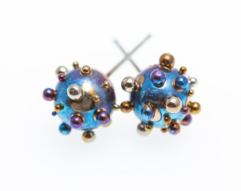 Titanium Ball Stud Earrings 8 mm. Planets and Satellites. Big Titanium Ball Posts. Hypoallergenic. Contemporary Jewelry, Art jewelry