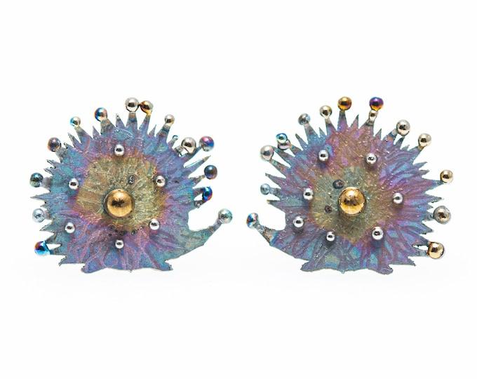 Featured listing image: Hedgehogs. Welded Titanium Earrings. Unusual Stud. Hypoallergenic. Biocompatible Pure Titanium. Made in Finland. 2020