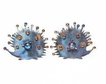 Hedgehogs Welded Titanium Earrings Unusual Stud Hypoallergenic Pure Titanium Made in Finland 2019