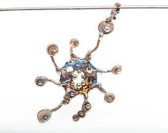Virologi 4. Original Titanium Pendant, Pure Titanium, Art Welding, Made in Finland