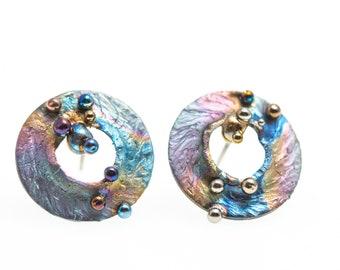 Pure Titanium Stud Earrings, Hypoallergenic, Geometric Stud, Circle Stud Posts, Unusual Jewelry, Alien's Design, Nebula. Made in Finland