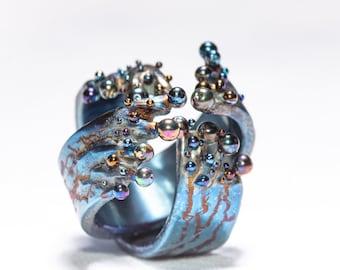 URANUS. Pure Titanium Statement Ring Art Welding Unique Piece Contemporary Art Jewelry Unusual Design Made in Finland