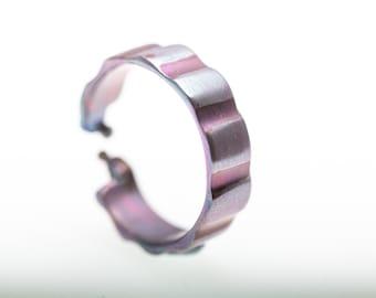 High Voltage. Titanium Textured Ring. Pure Titanium. Unusual Jewelry. Hypoallergenic. Titanium. Made in Finland. Welding. Anodizing. 2020