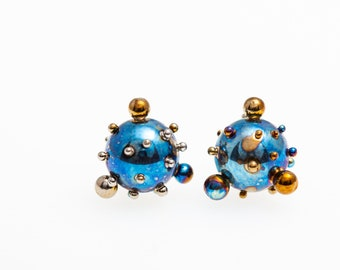 Planets and Satellites. Titanium Ball Stud Earrings 8 mm Big Titanium Ball Posts Studs Ball Earrings Hypoallergenic Made In Finland