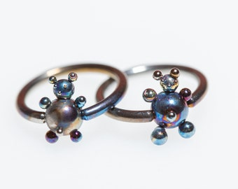 Teddy Bear 14G, 16G, Closure Ring, Titanium Captive Bead Ring, Daith Piercing, Nose Septum, Hoops Ear Lip Rings, Piercing, Made in Finland