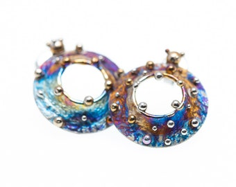 Magic Circles. Titanium Stud Earrings Hypoallergenic Circle Stud Geometric Posts Unusual Jewelry Alien's Design Made in Finland