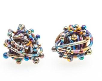 Titanium Grade 1  Wire Earrings. Cosmic Waves. Art Welding. Unique Piece. Unusual Design. Contemporary jewelry. Handcrafted in Finland