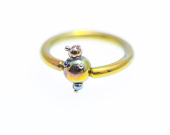 16G Ball Closure Ring. Titanium Captive Bead Ring. Piercing Nose Septum. Hoops Ear Lip. Rings Piercing. Made in Finland