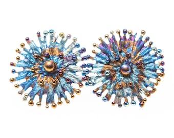 Efímeros 1 Titanium Stud Earrings, Hypoallergenic, Geometric Stud, Circle Stud Posts, Unusual Jewelry, Scandinavian Disign, Made in Finland