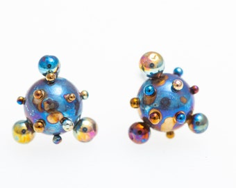 Planets and Satellites  Ball Stud Earrings 5 mm Studs Ball Titanium Post Earrings Hypoallergenic Bio compatible  Implant Ti Made In Finland