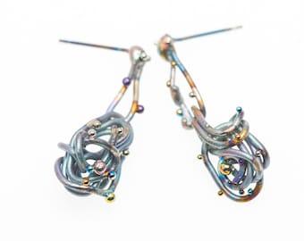 Cosmic Waves. Pure Titanium Earrings. Art Welding. Anodizing. Unique Art Piece. Unusual Design. Made in Finland