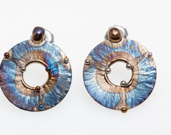 Circles and Spheres. Titanium Stud Earrings. Welding and Colored Pure Titanium Hypoallergenic Nickel Free Made in Finland