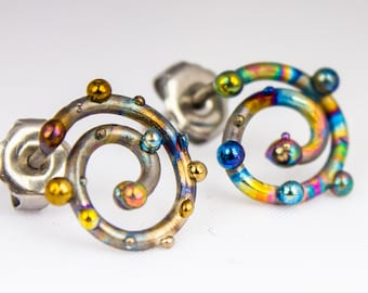 Gyre II. Spiral Titanium Earrings Titanium Stud Titanium  Posts Unusual Jewelry Crazy Stud Welding Hypoallergenic Ti Welding Made in Finland
