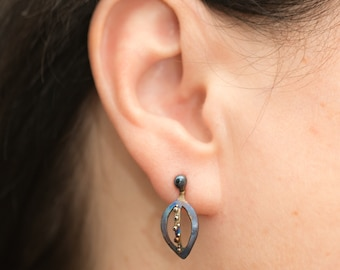 Magic Leaf Titanium Welded Earrings Floral Stud Hypoallergenic Pure Titanium Hand Made Earrings Made In Finland