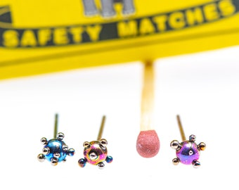 Planets and Satellites. Pure Titanium Ball Stud Earrings 3 mm. Studs Ball Titanium Post Earrings Welding Made In Finland