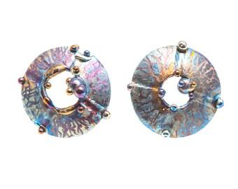 The Cross of Quetzalcoatl Titanium Earrings Circle Stud Pure Titanium Stud Non Allergenic Geometric Stud Unusual Jewelry Made in Finland
