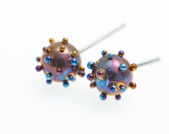 Titanium Stud Earrings, Planets and Satellites,  6mm Studs Ball, Titanium Post Earrings, Hypoallergenic, Biocompatible, Made In Finland