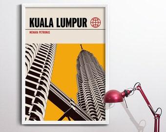 Kuala Lumpur Print, Graphic Travel Poster