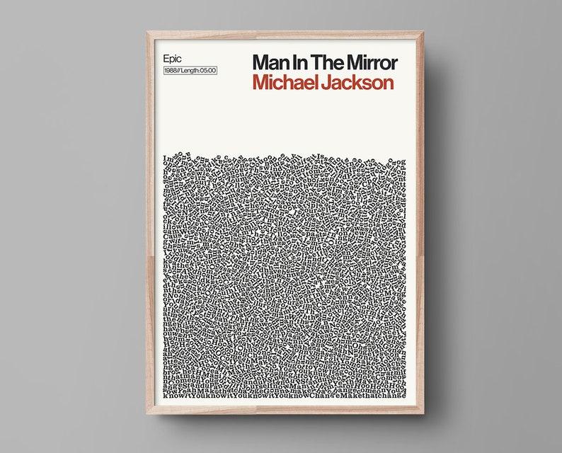 Michael Jackson Print, Man in the Mirror poster, Typography Print
