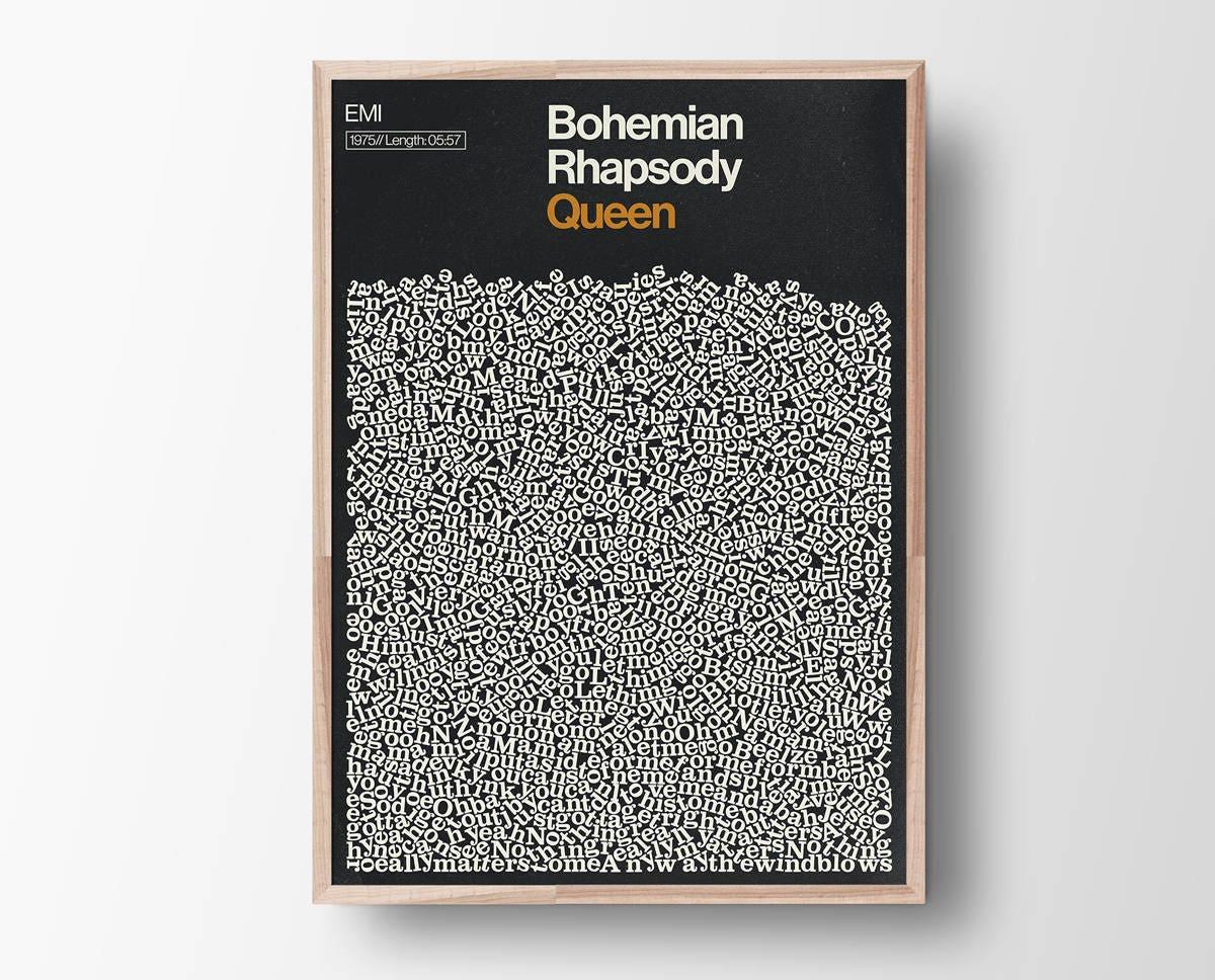 Bohemian Rhapsody Song Lyric Print, Queen, Music Poster