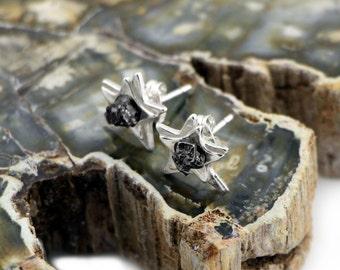 Star Space Earrings with Real Meteorite - Sterling Silver