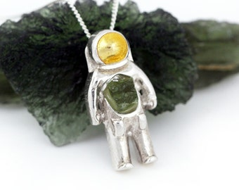 Moldavite Astronaut Space Necklace - Sterling Silver